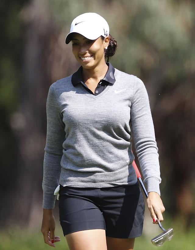 CANBERRA, AUSTRALIA - FEBRUARY 13: Cheyenne Woods reacts to sinking a putt during practice ahead of the ISPS Handa Australian Open at Royal Canberra Golf Club on February 13, 2013 in Canberra, Australia. (Photo by Stefan Postles/Getty Images)