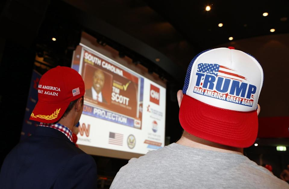 Supporters of Donald Trump in Australia watch the results come in. Photo by Daniel Munoz/Getty Images