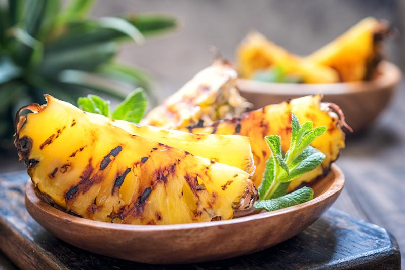 Delicious Grilled pineapple slices with sweet honey