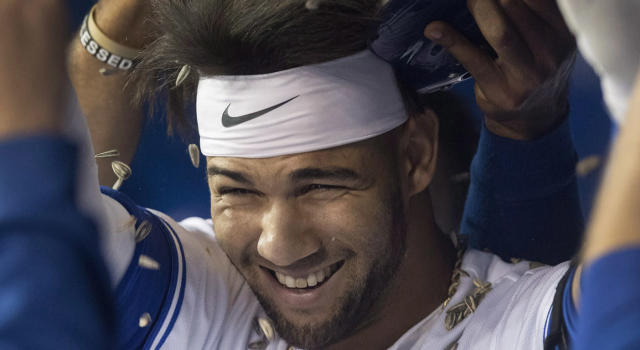 Lourdes Gurriel Jr. flashed some impressive power on Friday. (Fred Thornhill/CP)