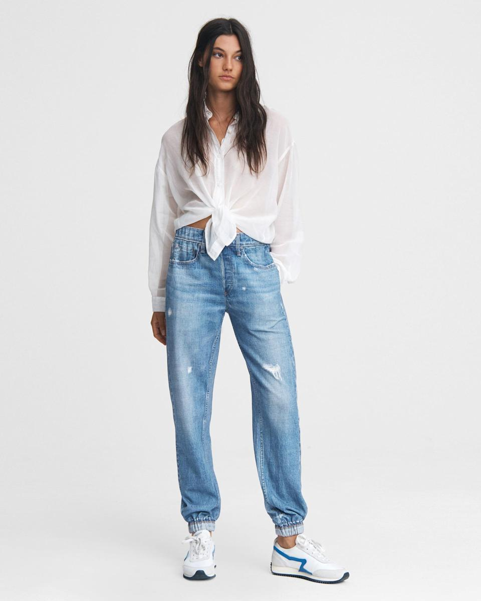 <p>OK, hear me out. I know the thought of sweatpant jeans sounds a little bit out there, but why wouldn't you want to be comfortable in jeans? They really are the best of both worlds.</p> <p><strong>What to Wear It With:</strong> A classic button-down and your favorite sneakers.</p>
