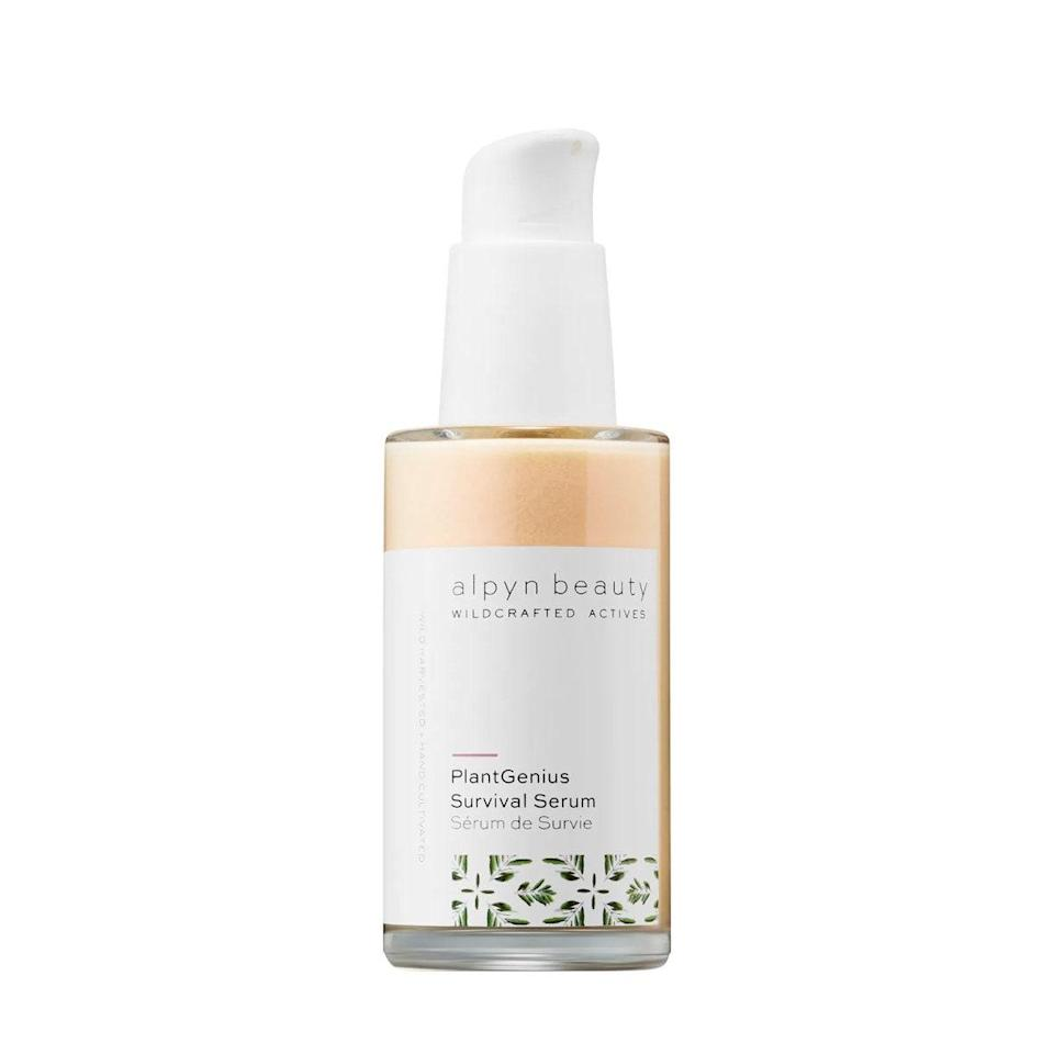 """Alpyn Beauty said it best: The brand put the sunrise and sunset in a bottle with this <a href=""""https://shop-links.co/1720900902929773356"""" rel=""""nofollow noopener"""" target=""""_blank"""" data-ylk=""""slk:PlantGenius Survival Serum"""" class=""""link rapid-noclick-resp"""">PlantGenius Survival Serum</a>. Use solo or add a droplet (or two) to your favorite <a href=""""https://www.glamour.com/gallery/best-tinted-moisturizer-with-spf?mbid=synd_yahoo_rss"""" rel=""""nofollow noopener"""" target=""""_blank"""" data-ylk=""""slk:tinted moisturizer"""" class=""""link rapid-noclick-resp"""">tinted moisturizer</a> to deliver a radiant dewy glow that acts as both a <a href=""""https://www.glamour.com/gallery/best-makeup-primers?mbid=synd_yahoo_rss"""" rel=""""nofollow noopener"""" target=""""_blank"""" data-ylk=""""slk:primer"""" class=""""link rapid-noclick-resp"""">primer</a> and serum all in one. $68, Alpyn Beauty. <a href=""""https://shop-links.co/1720900902929773356"""" rel=""""nofollow noopener"""" target=""""_blank"""" data-ylk=""""slk:Get it now!"""" class=""""link rapid-noclick-resp"""">Get it now!</a>"""