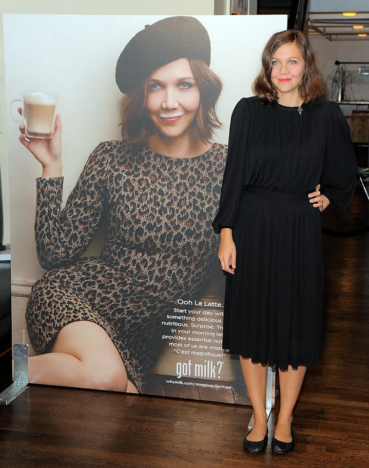 "Actress Maggie Gyllenhaal unveiled her ""Got Milk?"" ad at the City Bakery in Manhattan on Thursday. Maggie has the distinction of being the first celeb to pose with a latte, rather than the usual glass of milk. Jemal Countess/<a href=""http://www.gettyimages.com/"" target=""new"">GettyImages.com</a> - September 22, 2011"