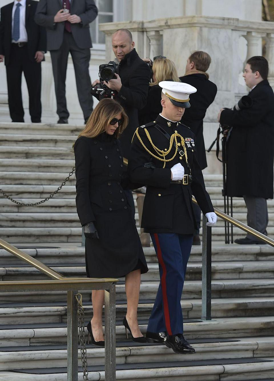 "<p>Melania opted for a pair of Gucci sunnies while visiting Arlington National Cemetery, and <a href=""https://www.yahoo.com/lifestyle/melania-trumps-gucci-sunglasses-spark-questions-on-social-media-215140264.html"" data-ylk=""slk:Twitter was definitely not pleased;outcm:mb_qualified_link;_E:mb_qualified_link;ct:story;"" class=""link rapid-noclick-resp yahoo-link"">Twitter was definitely not pleased</a>. The American people saw them as a sign of disrespect (from the size of the sunglasses to the actual sunglasses themselves).</p>"