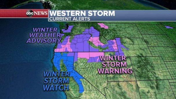 PHOTO: Seven states this morning in the West are on alert ahead of the storm. (ABC News)