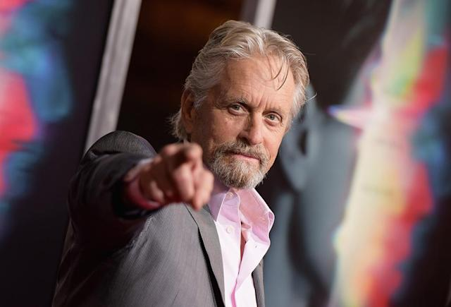 <p>Here's looking at you, Michael Douglas. The actor poked around with photographers at the premiere of <em>Flatliners</em> in Los Angeles. (Photo: Tara Ziemba/WireImage) </p>