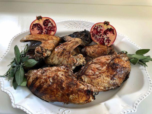 PHOTO: A turkey made on the grill with a pomegranate glaze sauce is pictured as a Thanksgiving dinner option. (Olivia Smith/ABC News)