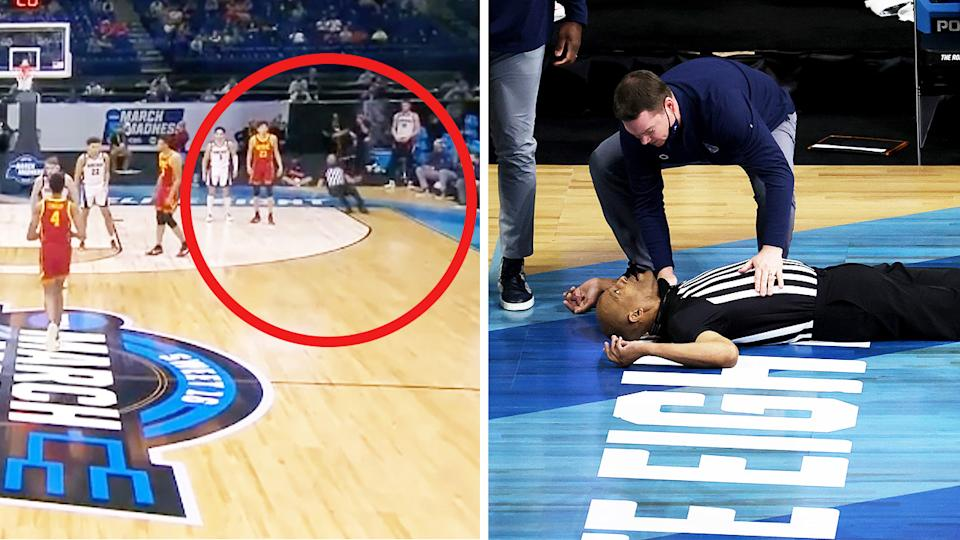 Veteran college referee Bert Smith (pictured left) falling back and (pictured right) lying on the floor as players and fans help him.