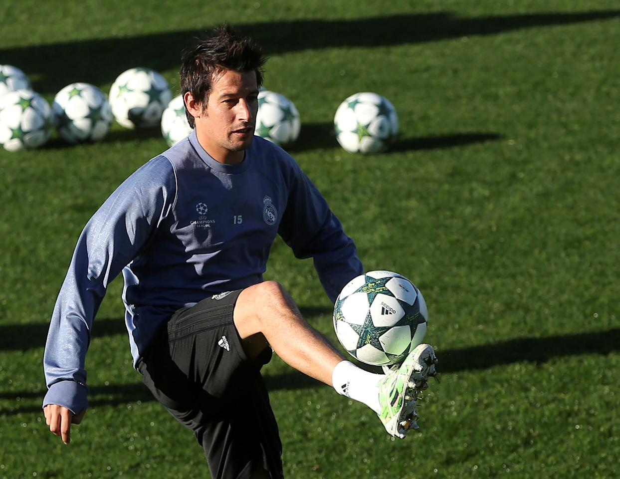 FILE PHOTO - Football Soccer - Real Madrid training session - UEFA Champions League Group Stage - Group F - Valdebebas training grounds - Madrid, Spain - 06/12/16 - Real Madrid's Fabio Coentrao controls the ball during a training session. REUTERS/Susana Vera/File Photo