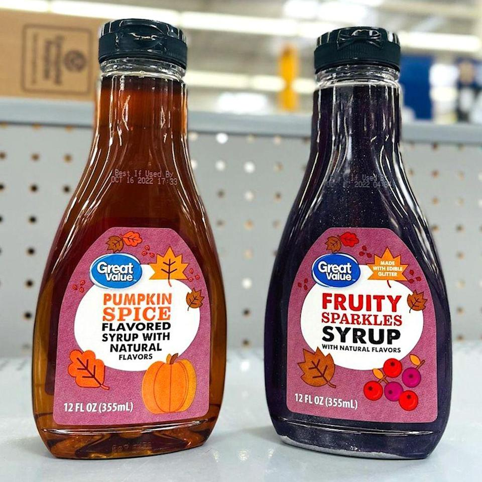 """<p><a class=""""link rapid-noclick-resp"""" href=""""https://go.redirectingat.com?id=74968X1596630&url=https%3A%2F%2Fwww.walmart.com%2Fip%2FPumpkin-Spice-Flavored-Syrup%2F880198635&sref=https%3A%2F%2Fwww.bestproducts.com%2Flifestyle%2Fg33511216%2Fpumpkin-spice-flavored-foods%2F"""" rel=""""nofollow noopener"""" target=""""_blank"""" data-ylk=""""slk:SHOP NOW"""">SHOP NOW</a></p><p>Ready to fall-ify your breakfast? Walmart is selling a pumpkin spice-flavored syrup from its in-house brand Great Value. From pancakes to waffles, you'll be able to start your day with an autumn twist.<br></p>"""