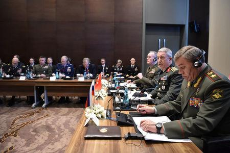 Turkey's Chief of Staff General Hulusi Akar, U.S. Chairman of the Joint Chiefs of Staff Joseph Dunford and Russian Armed Forces Chief of Staff Valery Gerasimov meet in Antalya, Turkey March 7, 2017. Turkish Military/Handout via REUTERS