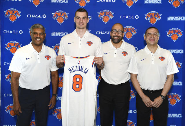 "(From left) <a class=""link rapid-noclick-resp"" href=""/nba/teams/nyk"" data-ylk=""slk:Knicks"">Knicks</a> president Steve Mills, <a class=""link rapid-noclick-resp"" href=""/nba/players/5465/"" data-ylk=""slk:Mario Hezonja"">Mario Hezonja</a>, coach David Fizdale and general manager Scott Perry are trying to turn the Knicks into winners. (Getty)"