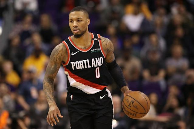 """It will hurt, but <a class=""""link rapid-noclick-resp"""" href=""""/nba/players/5012/"""" data-ylk=""""slk:Damian Lillard"""">Damian Lillard</a> might have to be a sit candidate for many fantasy owners this week. (Photo by Christian Petersen/Getty Images)"""