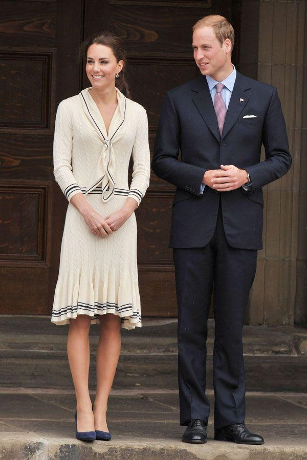 <p>More McQueen in a dress by the Brit label, paired with Prada shoes, L. K. Bennett clutch and Links of London earrings at the welcoming ceremony at Province House in Charlottetown, Canada</p>