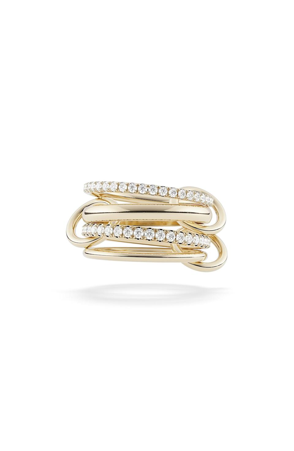 """<p><strong>Spinelli Kilcollin</strong></p><p>nordstrom.com</p><p><strong>$6800.00</strong></p><p><a href=""""https://go.redirectingat.com?id=74968X1596630&url=https%3A%2F%2Fwww.nordstrom.com%2Fs%2Fspinelli-kilcollin-polaris-linked-diamond-rings%2F5932177&sref=https%3A%2F%2Fwww.townandcountrymag.com%2Fstyle%2Fjewelry-and-watches%2Fg37368162%2Ffine-jewelry-brands-at-nordstrom%2F"""" rel=""""nofollow noopener"""" target=""""_blank"""" data-ylk=""""slk:Shop Now"""" class=""""link rapid-noclick-resp"""">Shop Now</a></p><p>Designed by a husband and wife duo, interlocking rings that can be worn stacked or across your hand are the brand's calling card. </p>"""