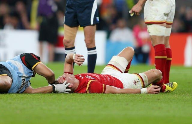 Wales' Liam Williams is treated by medical staff during the 2015 World Cup