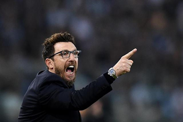 Roma's players have credited coach Eusebio di Francesco with their remarkable victory against Barcelona in the quarter-finals (AFP Photo/FILIPPO MONTEFORTE)