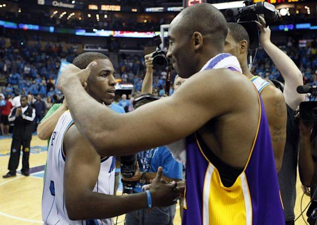 "Kobe Bryant and <a class=""link rapid-noclick-resp"" href=""/nba/players/3930/"" data-ylk=""slk:Chris Paul"">Chris Paul</a> were almost teammates for an afternoon. (AP)"