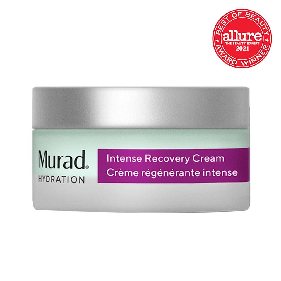"""For dry to severely dry skin, you want to bring the heavy (hydration) hitters into your nighttime skin-care routine. Murad Intense Recovery Cream, a rich, seafoam-green-tinted cream, is a <a href=""""https://www.allure.com/gallery/best-of-beauty-skin-care-product-winners?mbid=synd_yahoo_rss"""" rel=""""nofollow noopener"""" target=""""_blank"""" data-ylk=""""slk:2021 Best of Beauty Award winner"""" class=""""link rapid-noclick-resp"""">2021 Best of Beauty Award winner</a> because it puts a stop to redness and visibly calms signs of stressed skin. Star ingredients include shea butter, macadamia oil, redness-soothing mirabilis jalapa plant extract, and fine-line-smoothing microalgae extract, making it the ideal nightcap for your skin."""