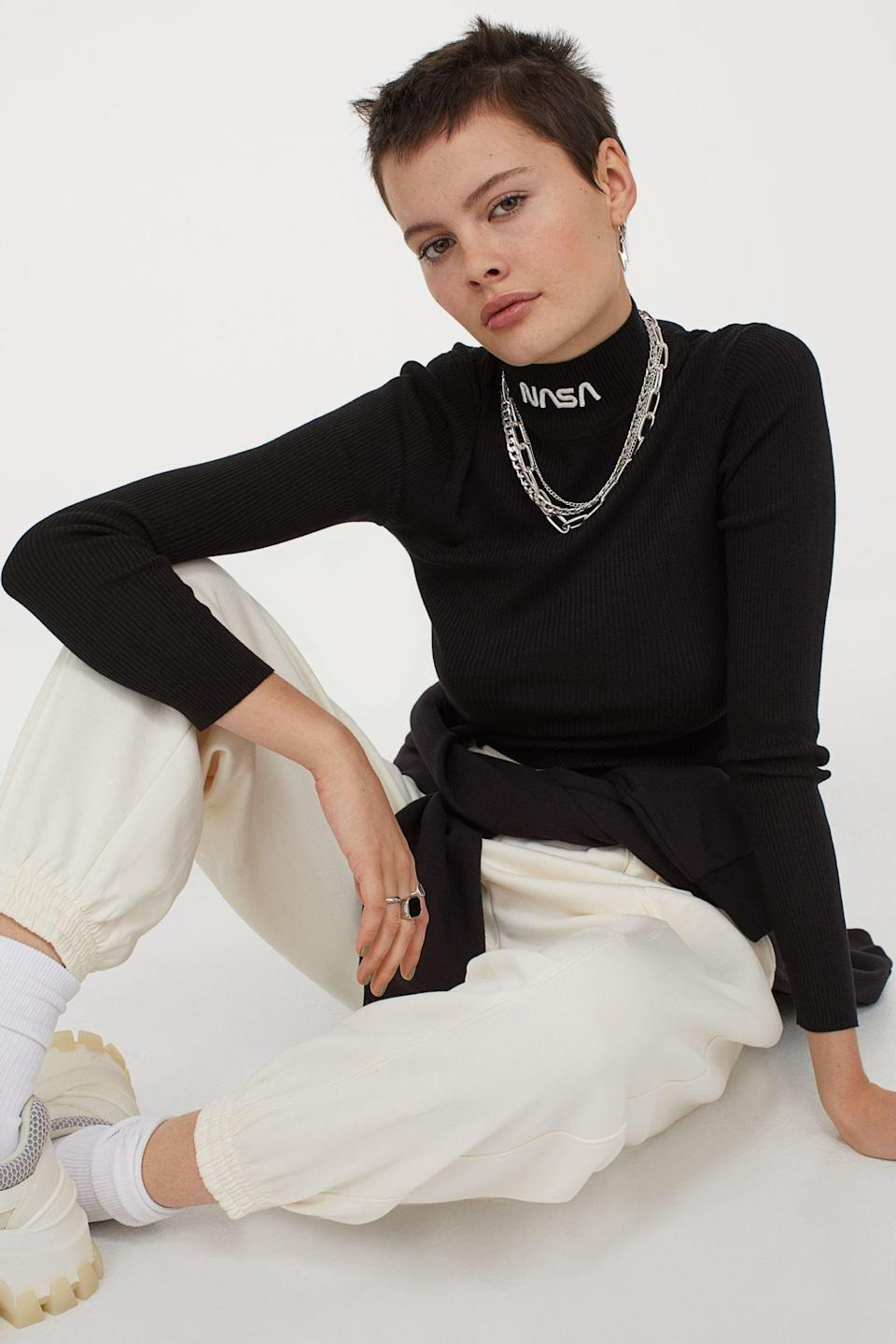 <p>Style this <span>Fitted Mock-Turtleneck Sweater</span> ($25) with layers of necklaces.</p>