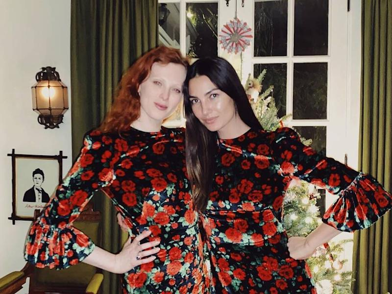 Lily Aldridge and Karen Elson wear same dress to Christmas party