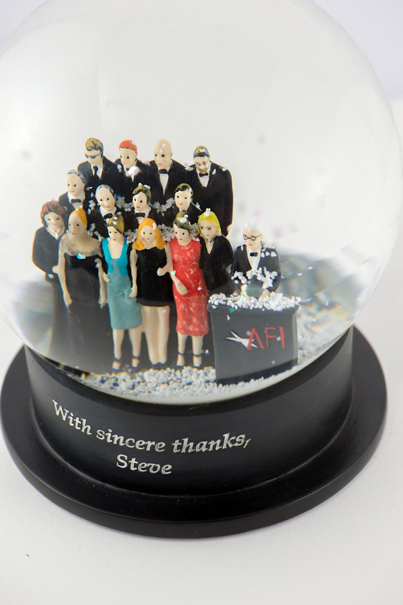Pictured: Snow globes made for Steve Martin's AFI award. Image: Queen of Snow Globes