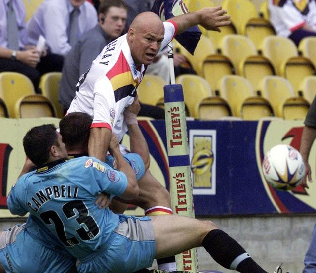 Graham Mackay, top, scored a try and kicked a goal in the 2002 Super League Grand Final for Bradford (Gareth Copley/PA)