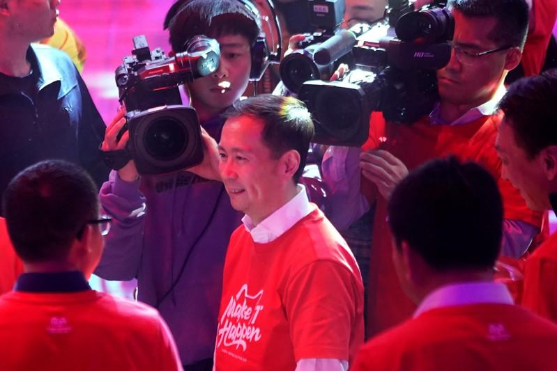 Alibaba Group Executive Chairman and CEO Daniel Zhang attends the Alibaba Group's Singles' Day global shopping festival at the company's headquarters in Hangzhou