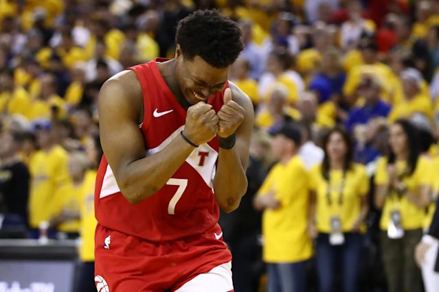 Kyle Lowry #7 of the Toronto Raptors celebrates late in the game against the Golden State Warriors during Game Six of the 2019 NBA Finals at ORACLE Arena on June 13, 2019 in Oakland, California. (Photo by Ezra Shaw/Getty Images)