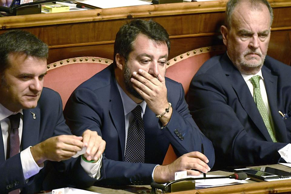 Head of the far-right Northern League (Lega Nord) party, current Italian Senator and former Interior Minister Matteo Salvini (C), seated between fellow senators Gian Marco Centinaio (L) and Roberto Calderoli, looks on during the new government's confidence vote on September 10, 2019 at the Senate in Rome. - Italian Prime Minister Giuseppe Conte called on September 9 for the reform of European Union budget rules and cooperation on immigration as his new government won a parliamentary confidence vote at the lower house. (Photo by Filippo MONTEFORTE / AFP)        (Photo credit should read FILIPPO MONTEFORTE/AFP via Getty Images) (Photo: FILIPPO MONTEFORTE via Getty Images)