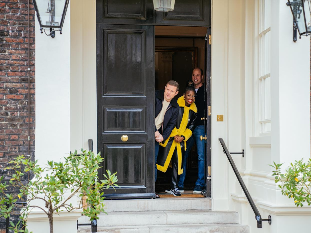 The Duke of Cambridge was joined on the Kensington Palace doorstep by the presenters Clara Amfo and Dermot O'Leary. (Getty Images)