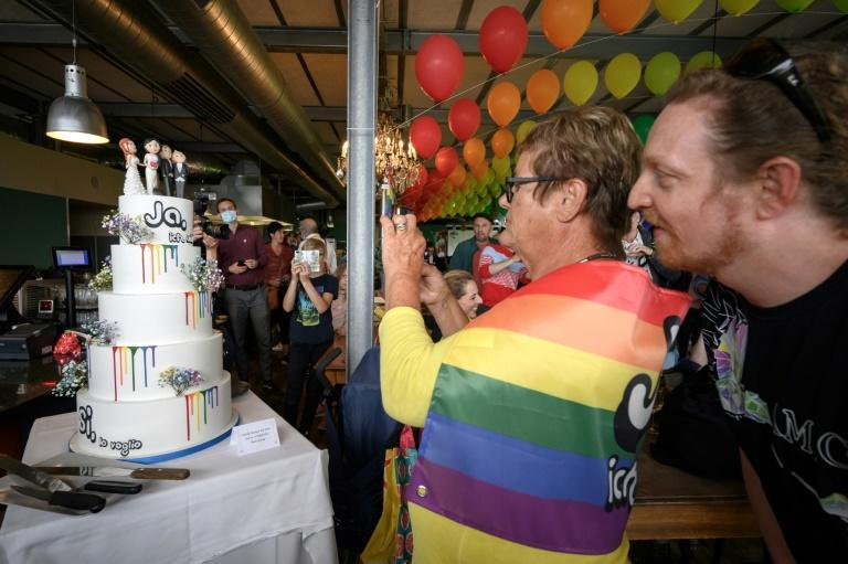The celebration party featured a same-sex wedding cake (AFP/Fabrice COFFRINI)