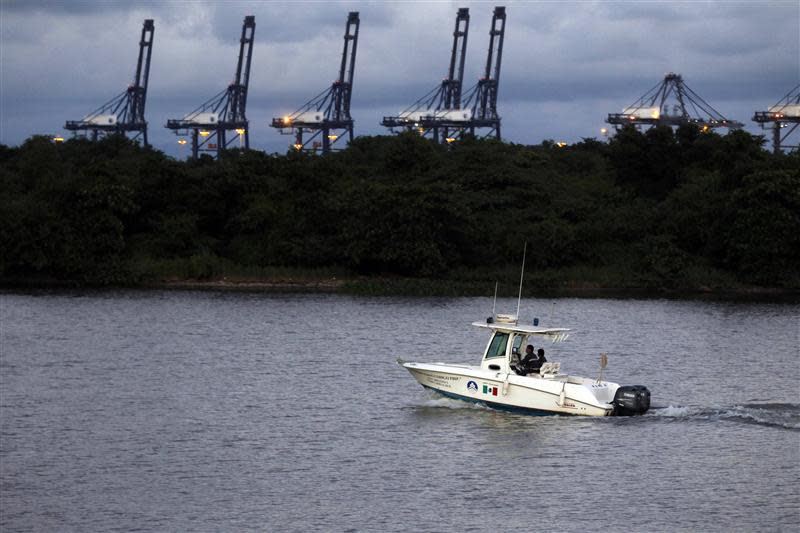 Port security patrol the delta of the River Balsas in the port of Lazaro Cardenas