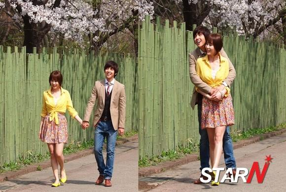 Par Yejin and Kim Gibum enjoys 'cherry blossom date'