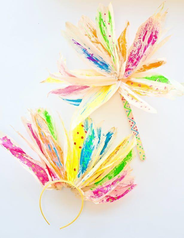 """<p>Their love for rainbow-everything translates perfectly to this seasonal canvas: corn husks. </p><p><em><a href=""""https://www.hellowonderful.co/post/CORN-HUSK-FLOWER-PAINTING-WITH-KIDS/#_a5y_p=4519089"""" rel=""""nofollow noopener"""" target=""""_blank"""" data-ylk=""""slk:Get the tutorial at Hello, Wonderful »"""" class=""""link rapid-noclick-resp"""">Get the tutorial at Hello, Wonderful »</a></em> </p>"""