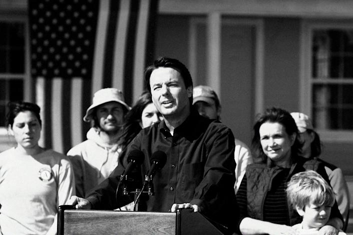 Former Sen. John Edwards, D-N.C., speaks to the media after announcing that he is withdrawing from the presidential race on Jan. 30, 2008. (Digitally altered photo: Chris Graythen/Getty Images)