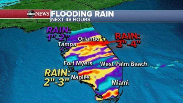 PHOTO: Locally, more than 4 inches of rain is possible which could lead to flooding from Orlando to Naples and south Miami. (ABC News)