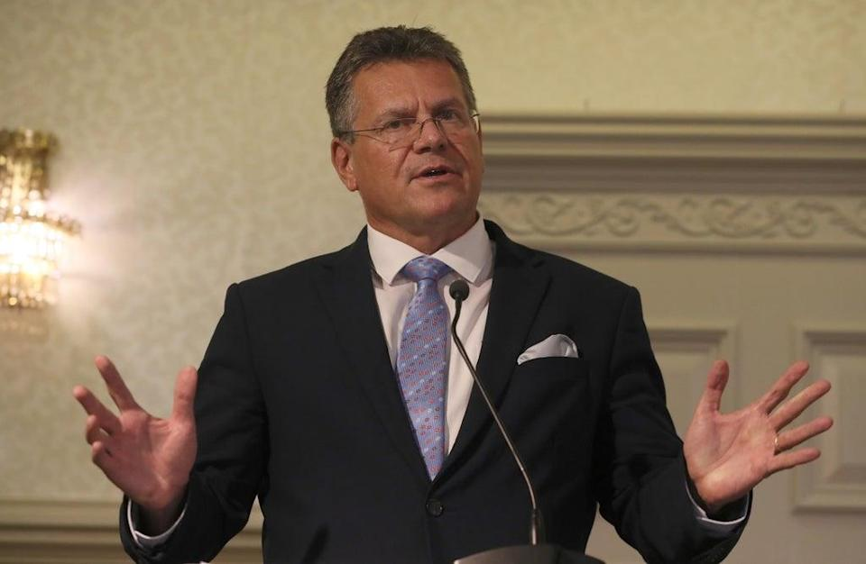 European Commission vice-president Maros Sefcovic during a press conference in Belfast (Brian Lawless/PA) (PA Wire)