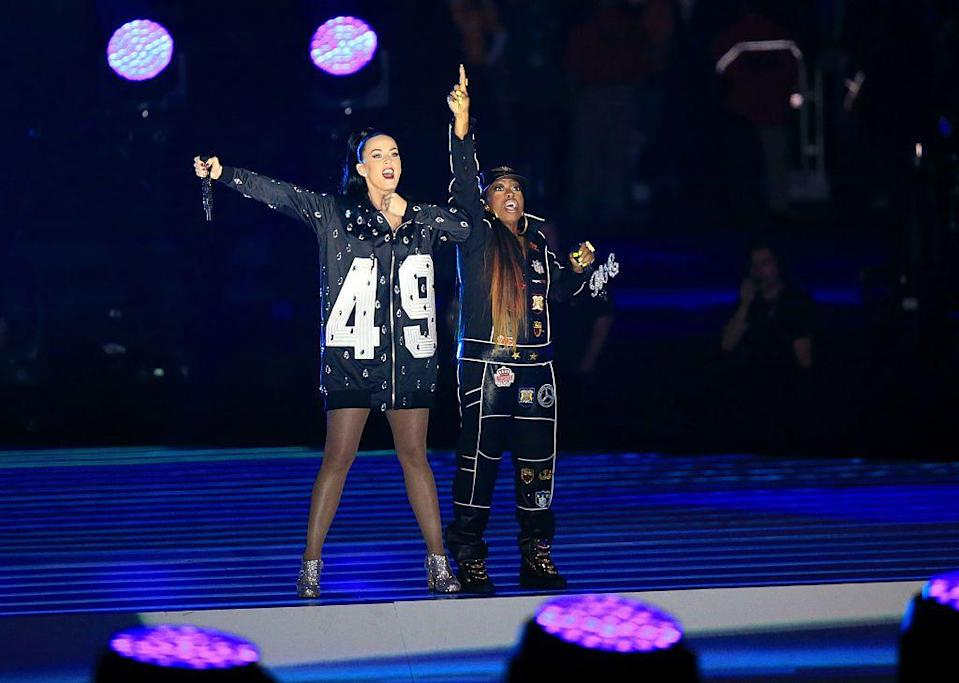 <p>Perry wore a zip-up hoodie as Missy Elliott, in a jumpsuit, joined her.</p>