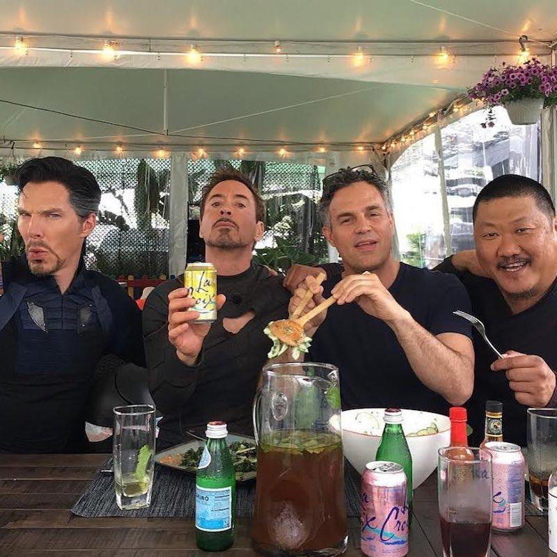"<p>""Doing normal things with my not so normal <a rel=""nofollow"" href=""https://www.instagram.com/p/BVnVO-Rl2UM/?taken-by=markruffalo""><i>Avengers</i> brothers</a>!"" Ruffalo joked about a photo with a few of his co-stars in the action franchise, Robert Downey Jr., Benedict Wong, and Benedict Cumberbatch. ""This is not a La Croix ad,"" he added. Promise? (Photo: Mark Ruffalo via Instagram) </p>"