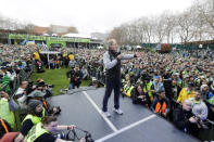 FILE - In this Nov. 12, 2019, file photo, Seattle Sounders head coach Brian Schmetzer talks to supporters during a rally in Seattle to celebrate the Sounders defeat of Toronto FC to win the 2019 MLS Cup championship soccer match. The Sounders announced Monday, Jan. 25, 2021, that the team and Schmetzer had reached agreement on a multiyear contract extension. (AP Photo/Ted S. Warren, File)