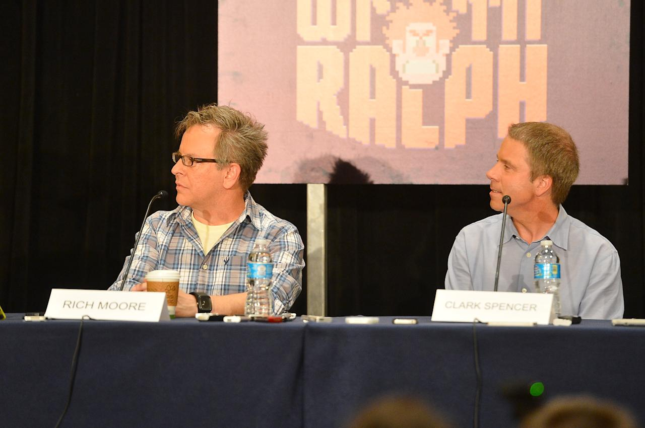 """SAN DIEGO, CA - JULY 12:  Director Rich Moore and producer Clark Spencer attend Walt Disney Studios: """"Frankenweenie,"""" """"Wreck It Ralph"""" and """"Oz"""" during Comic-Con International 2012 held at the Hilton San Diego Bayfront Hotel on July 13, 2012 in San Diego, California.  (Photo by Frazer Harrison/Getty Images)"""