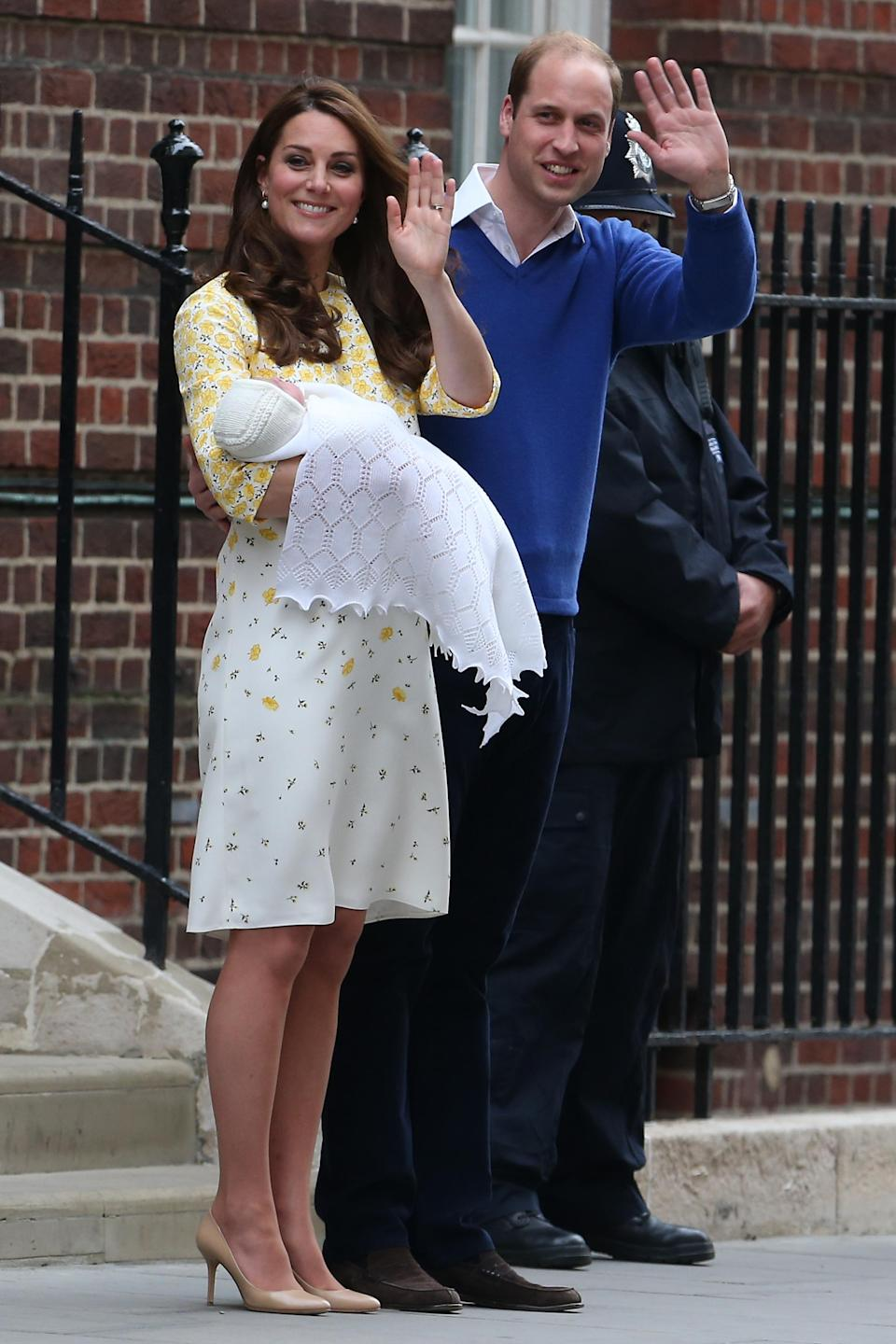 Catherine, Duchess of Cambridge, and Prince William, Duke of Cambridge, depart St. Mary's Hospital in London with their newborn daughter on May 2, 2015. (Photo: Neil Mockford/Alex Huckle/FilmMagic)