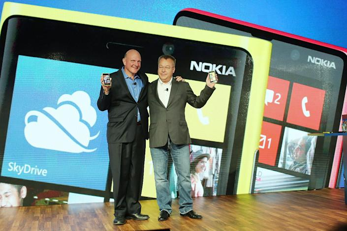 Former Microsoft CEO Steve Ballmer (left) and former Nokia CEO Stephen Elop.