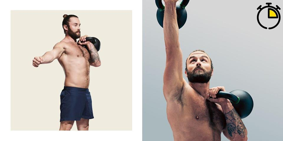 """<p><strong>You'll need: A kettlebell, floor space</strong></p><p>Burn fat and build stamina with Spetsnaz efficiency by blasting through this unilateral <a href=""""https://www.menshealth.com/uk/building-muscle/a758657/the-7-best-kettlebell-exercises-to-build-muscle/"""" rel=""""nofollow noopener"""" target=""""_blank"""" data-ylk=""""slk:kettlebell"""" class=""""link rapid-noclick-resp"""">kettlebell</a> home workout. Switching sides will allow the knackered half of your body just enough time to recover while forcing <a href=""""https://www.menshealth.com/uk/building-muscle/a27179771/ultimate-abs-workout/"""" rel=""""nofollow noopener"""" target=""""_blank"""" data-ylk=""""slk:your abs"""" class=""""link rapid-noclick-resp"""">your abs</a> into overdrive. For each move, complete the reps on one side, then switch. Repeat the circuit as many times as possible in 15 minutes, but stay controlled – you want every rep to be clean.</p><p><strong>Kettlebell Snatch: 5 Reps Per Side</strong></p><p>Squat down with a flat back and grab a kettlebell from between your feet. Stand up as explosively as possible, pulling the kettlebell up quickly. Turn your hand, punching the kettlebell directly overhead. Lower to your shoulders, then the floor. Repeat for four more reps, then switch hands.</p><p><strong>Kettlebell Clean and Push Press: 5 Reps Per Side</strong></p><p>After your last snatch, move straight to a clean and press. Start from the floor again, but this time turn your hand and catch the kettlebell in front of your collar bone, fist tucked below your chin. Dip at the knees, then stand up explosively, creating some helpful momentum to drive the bell overhead.</p><p><strong>Kettlebell Clean: 5 Reps Per Side</strong></p><p>Round off the circuit with cleans, using all the power in your legs to make the exercise easier. Pick up the kettlebell and pull it between your legs to create momentum. Drive your hips forward and pull the weight up, turning your hand to catch the bell in front of your collar bone. Reverse and repeat.</p>"""