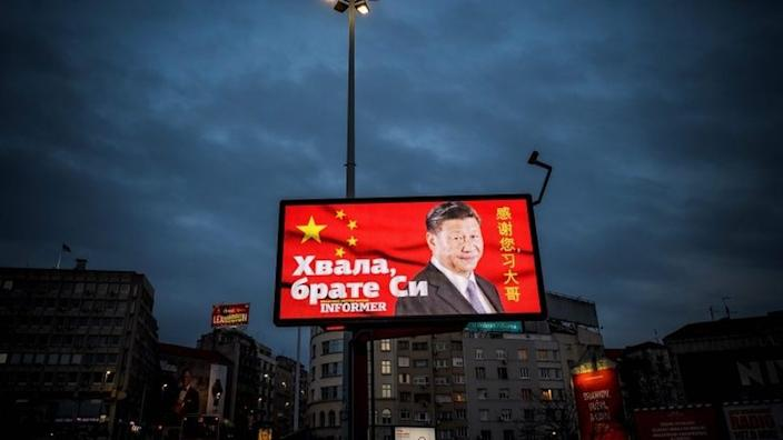 A sign in Belgrade paid for by a newspaper reads 'thank you brother Xi'