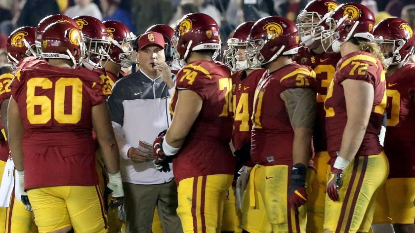 USC Coach Clay Helton and the Trojans face the Nittany Lions of Penn State in the Rose Bowl on Jan. 2, 2016.
