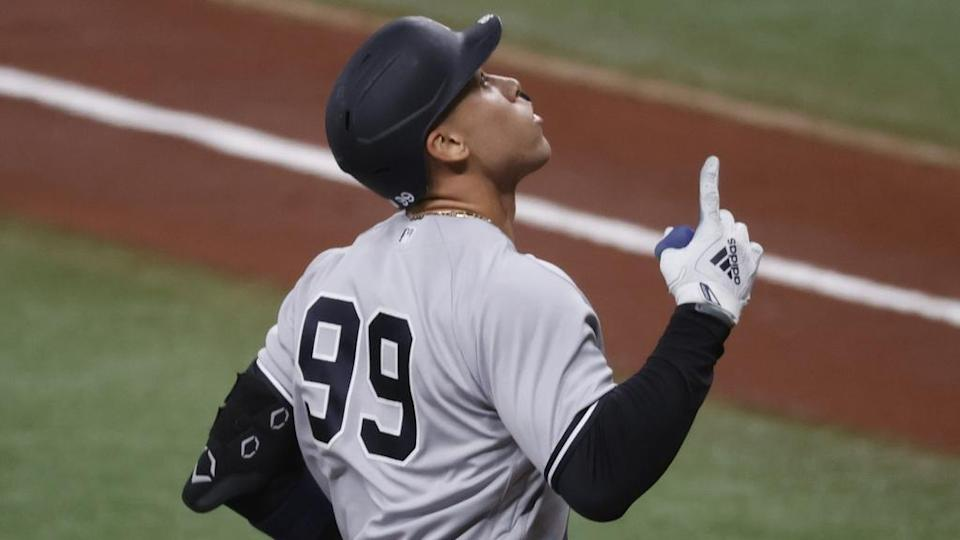 Aaron Judge points up after home run vs. Rays