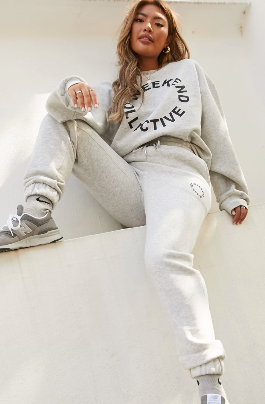 Weekend Collective cropped fleece sweater and matching tracksuit pants
