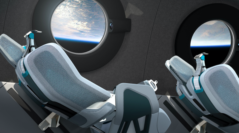 The plans for the cabin include individually sized reclining seats with 'G-Force management' and automated mood lighting. (Virgin Galactic/PA)